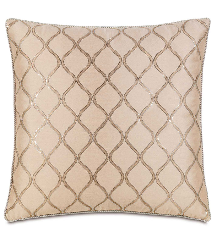 Bardot Bisque With Cord Extra Euro Sham - GLAM,SEQUIN,SHINY,PATTERN,PINK,TAN,GLAMOUR,METALLIC,SILVER,CONTEMPORARY,ELEGANT,OPULENT,FEMININE,GOLD,LUXURY,CHAMPAGNE,PILLOW,DECORATIVE,HOME DECOR,BEIGE,LUXURY BEDDING,CORD,SQUARE