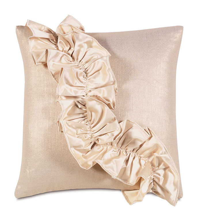 Reflection Gold With Ruffle - GLAM,RUFFLE,SHINY,BOW,RUCHED,TAN,GLAMOUR,METALLIC,GIRLY,CONTEMPORARY,ELEGANT,OPULENT,FEMININE,GOLD,LUXURY,CHAMPAGNE,PILLOW,DECORATIVE,HOME DECOR,LUXURY BEDDING,SQUARE,ACCENT,BED