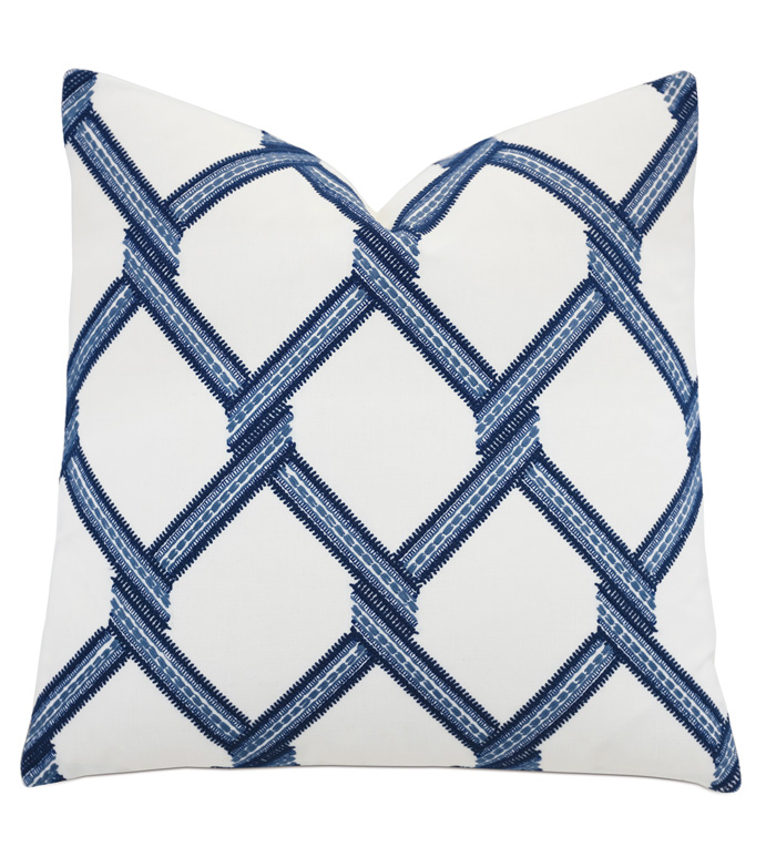 Newport Trellis Accent Pillow In Blue - ACCENT PILLOW,THROW PILLOW,ACCENT PILLOW,BARCLAY BUTERA BY EASTERN ACCENTS,BLUE,COASTAL,COTTON,GEOMETRIC,KNIFE EDGE FINISHING,TRELLIS,