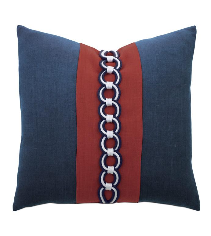 Newport Border Accent Pillow In Indigo - ACCENT PILLOW,THROW PILLOW,ACCENT PILLOW,BARCLAY BUTERA BY EASTERN ACCENTS,INDIGO,COASTAL,100% LINEN,SOLID,BORDER,