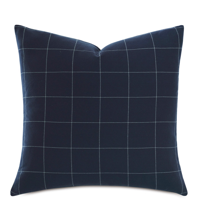 Ladue Checkered Accent Pillow In Indigo - ACCENT PILLOW,THROW PILLOW,ACCENT PILLOW,BARCLAY BUTERA BY EASTERN ACCENTS,INDIGO,TRADITIONAL,100% COTTON,CHECKERED,KNIFE EDGE FINISHING,