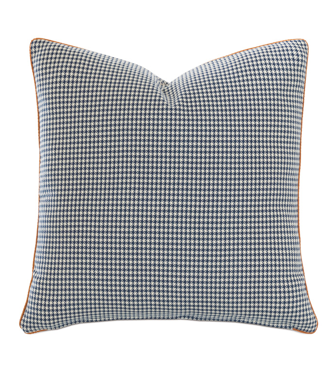 Ladue Houndstooth Accent Pillow In Indigo - ACCENT PILLOW,THROW PILLOW,ACCENT PILLOW,BARCLAY BUTERA BY EASTERN ACCENTS,INDIGO,TRADITIONAL,100% COTTON,HOUNDSTOOTH,CORD,