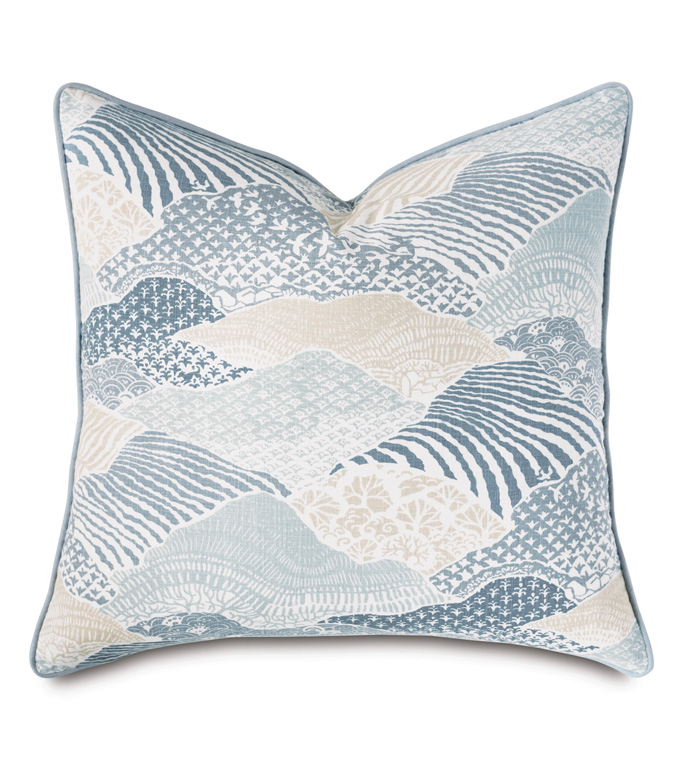 Brentwood Abstract Euro Sham - BARCLAY BUTERA,EURO SHAM,EURO PILLOW,EURO,PILLOW,DECORATIVE PILLOW,ACCENT PILLOW,THROW PILLOW,COASTAL,NAUTICAL,BLUE,SPA,MARITIME,TRADITIONAL,LUXURY,27X27,LARGE,SQUARE