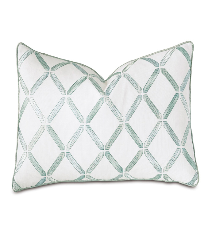 Brentwood Embroidered Decorative Pillow - BARCLAY BUTERA,EMBROIDERED,TRELLIS,LATTICE,SQUARE,13X22,DECORATIVE PILLOW,THROW PILLOW,ACCENT PILLOW,PILLOW,LUXURY BEDDING,BEDDING,DESIGNER,BLUE,SPA,TEAL,OBLONG,RECTANGULAR,LUMBAR