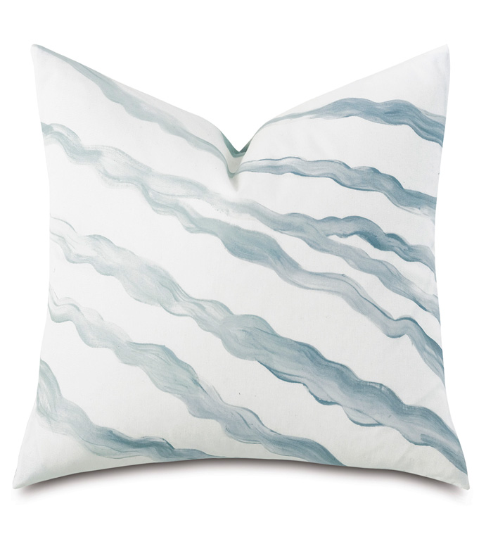 Brentwood Handpainted Decorative Pillow - BARCLAY BUTERA,COASTAL,NAUTICAL,MARITIME,BLUE,SPA,BLUE AND WHITE,PILLOW,DECORATIVE PILLOW,ACCENT PILLOW,THROW PILLOW,HANDPAINTED,OMBRE,WAVY,STRIPE,20X20