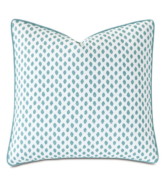 St Barths Speckled Decorative Pillow - ,22x22 pillow,teal pillow,dotted pattern,polka dot pillow,teal throw pillow,speckled pillow,speckled pattern,tropical pillow,luxury pillow,teal bedding,cotton pillow,