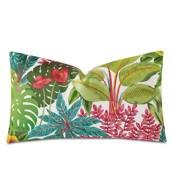 St Barths Embroidered Decorative Pillow - ,15X26 PILLOW,LONG PILLOW,TROPICAL PILLOW,TROPICAL EMBROIDERY,TROPICAL DECOR,EMBROIDERED PILLOW,BOTANICAL EMBROIDERY,LUXURY PILLOW,TROPICAL BEDDING,TROPICAL DECOR,TROPICAL BOLSTER,