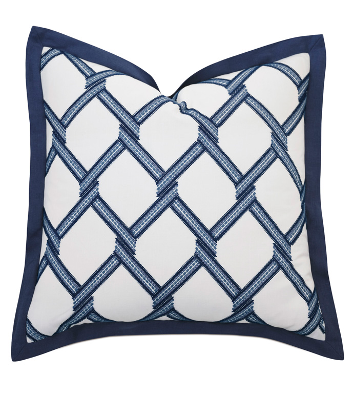 Newport Embroidered Euro Sham In Blue - ACCENT PILLOW,THROW PILLOW,EURO SHAM,BARCLAY BUTERA BY EASTERN ACCENTS,BLUE,COASTAL,EMBROIDERED,GEOMETRIC,FLANGE,