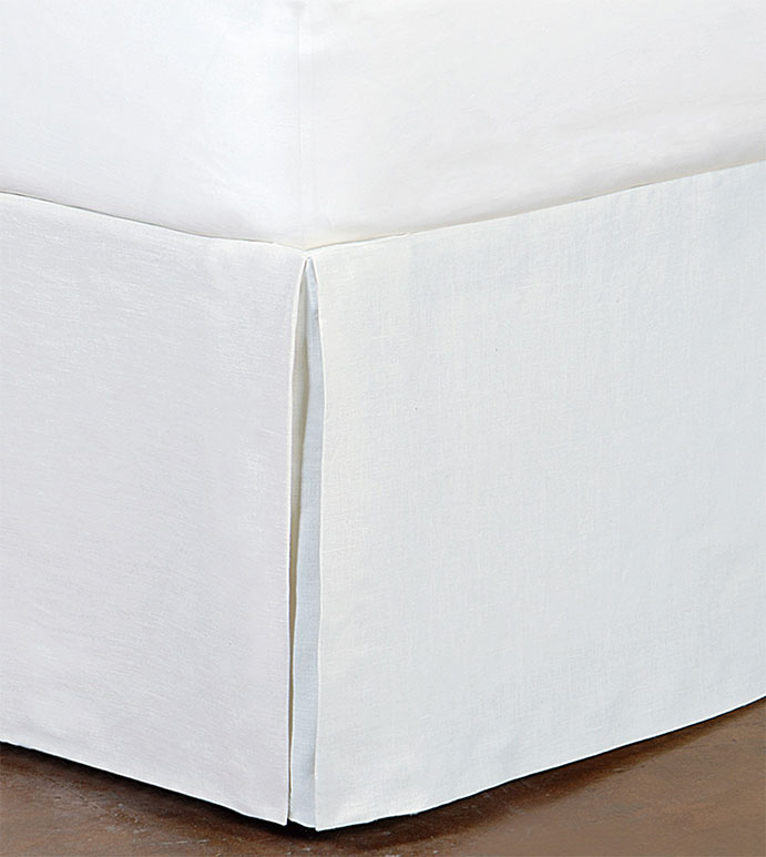 Breeze Pleated Bed Skirt in White - ,bed skirt,linen bedskirt,white bed skirt,classic bed skirt,luxury bed skirt,kick pleats,pleated bed skirt,white bedding,casual bedding,kick pleat bedskirt,100% linen bedding,