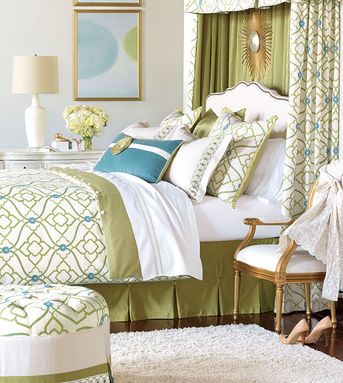 Bradshaw Bedset - green and blue bedset,bright floral bedset,blue and white,white and green,blue and green,bright feminine bedset,tween room bedset,casual,contemporary,embroidered,floral,cotton