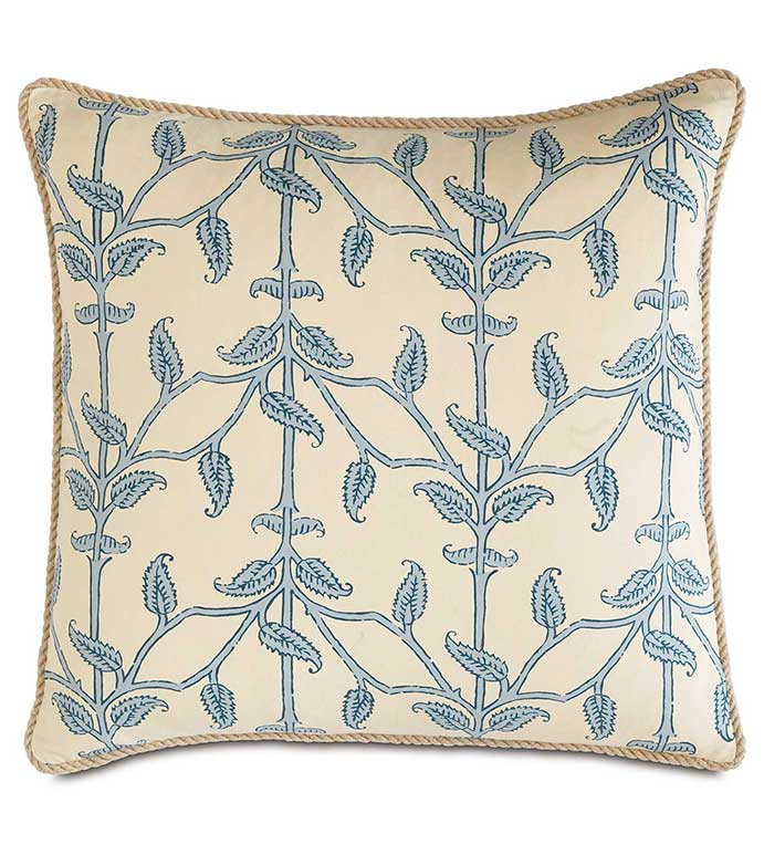 Badu Beanstalk With Cord - BLUE AND WHITE TROPICAL PILLOW,BEANSTALK FABRIC,FEMININE COASTAL PILLOW,BLUE AND WHITE,BLUE AND IVORY,HEMP CORD,VINE FABRIC,CONTEMPORARY CASUAL,ISLAND HOME PILLOW,LAKE HOUSE
