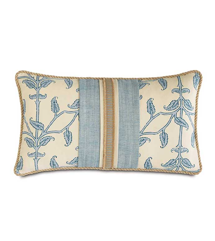 Badu Beanstalk With Insert - TROPICAL CUTOUT PILLOW,PRINTED VINE PILLOW,BLUE AND WHITE,BLUE AND IVORY,MACRAME PILLOW,HEMP ACCENT PILLOW,TROPICAL FEMININE,CASUAL COASTAL,LAKE HOUSE PILLOW,STRIPED,LAYERED