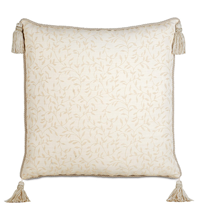 Hayes Blossom With Cord & Tassels - TRADITIONAL ELEGANT PILLOW,NEUTRAL CLASSIC PILLOW,NEUTRAL ORNAMENTED PILLOW,SOUTHERN CLASSIC,TRADITIONAL,IVORY FLORAL PILLOW,TASSEL CORNER PILLOW,OVERSIZED IVORY PILLOW,BOTANICAL