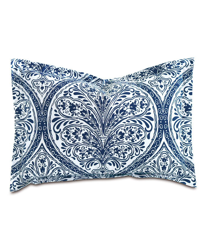 Adelle Percale Boudoir In Marine - PERCALE,DECORATIVE PILLOW,PILLOW,ACCENT PILLOW,THROW PILLOW,BED PILLOW,SOFA PILLOW,MEDALLION,DAMASK,JACQUARD,PRINT,PATTERN,BLUE,BRIGHT,OGEE,VECTOR,LUXURY BEDDING,EASTERN ACCENTS