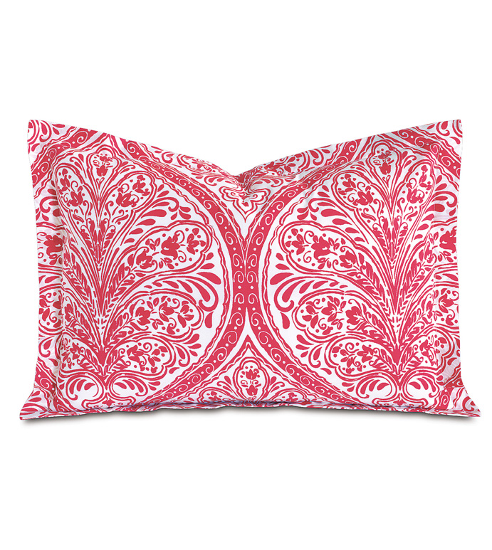 Adelle Percale Boudoir In Sorbet - PERCALE,DECORATIVE PILLOW,PILLOW,ACCENT PILLOW,THROW PILLOW,BED PILLOW,SOFA PILLOW,MEDALLION,DAMASK,JACQUARD,PRINT,PATTERN,PINK,BRIGHT,OGEE,VECTOR,LUXURY BEDDING,EASTERN ACCENTS