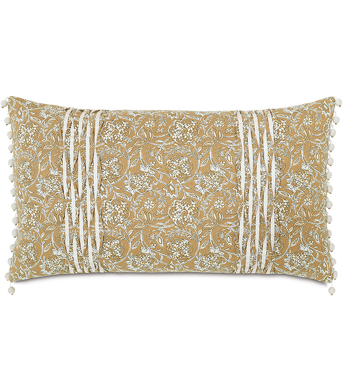 Fellows Amber Bolster - yellow floral pillow,orange floral pillow,english countryside pillow,botanical pillow,small floral pillow,pintucks,yellow and white,mustard and white,ball trim,english garden,bead
