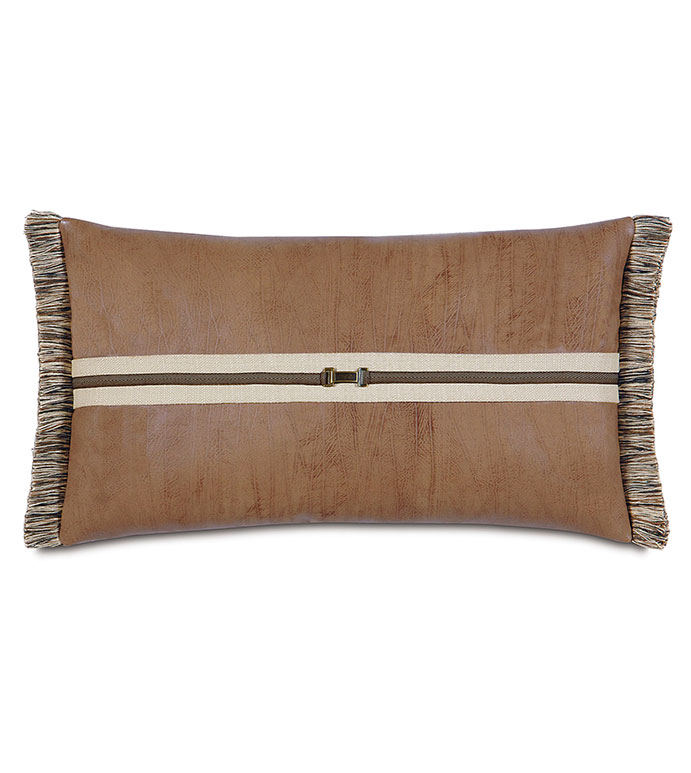 Aiden Fringe Decorative Pillow - SADDLE LEATHER PILLOW,LODGE BOLSTER PILLOW,LODGE PILLOW,RUSTIC,COUNTRY,MOUTAIN,BUCKLE PILLOW,FRINGE,BUCKLE,SADDLE,FAUX LEATHER,TAN,CARAMEL,BROWN,LODGE BED PILLOW,STRIPED