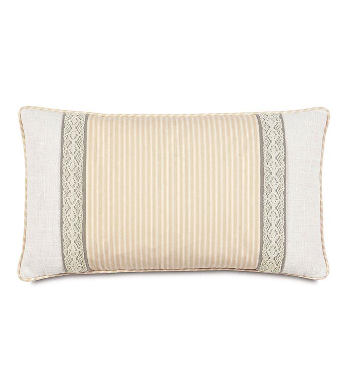 Heirloom Vanilla Bolster - pillow,throw pillow,bolster pillow,lace pillow,taupe pillow,decorative pillow,boudoir sham pillow,accent pillow,vanilla pillow,femine pillow,zip closure pillow,custom pillow