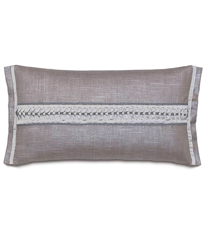 Reflection Taupe Bolster - SILVER,TAUPE,GREY,PILLOW,PATTERN,DESIGN,GLAM,MODERN,TRIM,ACCENT,METALLIC,BEDROOM,BED,LUXURY BEDDING,INTERIOR DESIGN,ROW,STRIPE,WOVEN,WEAVE,HORIZONTAL,BOLSTER,FLANGE,CONTRAST,DETAIL