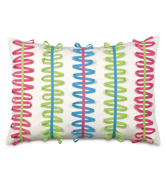 Gigi Ribbon Decorative Pillow - DECORATIVE PILLOW,BOLSTER,RECTANGLE,RECTANGULAR,RIBBON,PILLOW,PASTEL,BED,BEDDING,16X22,COLORFUL,MULTICOLORED,PRIMARY,PASTEL,100% COTTON,COTTON,HOME DECOR,LUXURY,MADE IN USA,