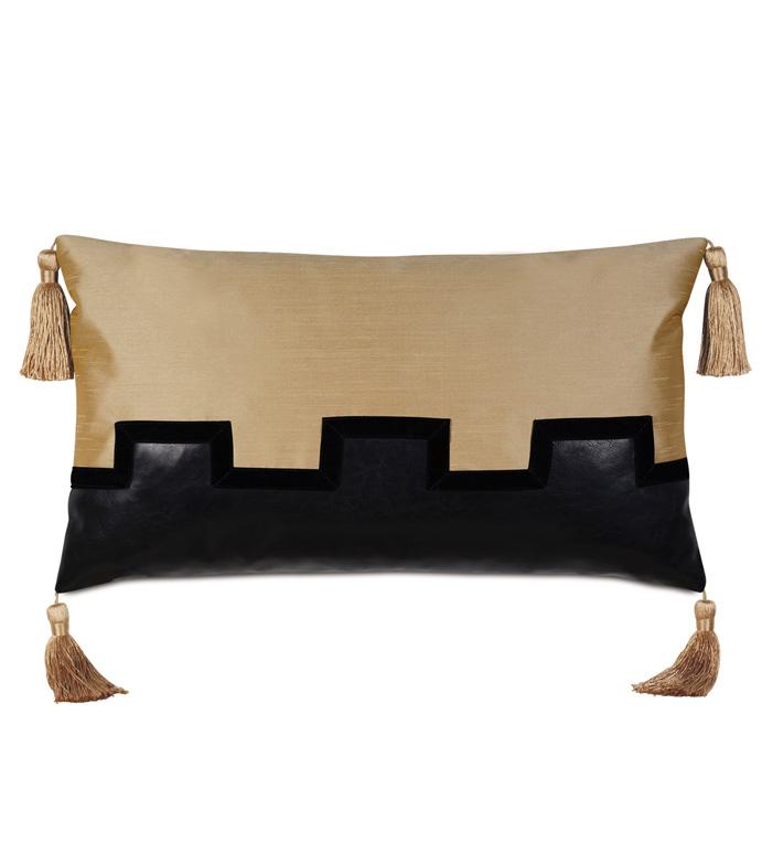 Roxanne Faux Leather Decorative Pillow - PILLOW,THROW PILLOW,BOLSTER PILLOW,CONTEMPORARY PILLOW,GOLD PILLOW,DECORATIVE PILLOW,BOUDOIR SHAM PILLOW,ACCENT PILLOW,GLAM PILLOW,TASSEL PILLOW,FAUX LEATHER PILLOW,CUSTOM PILLOW