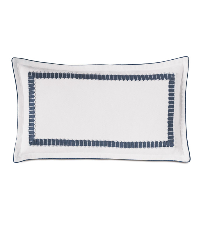 Hugo Mitered Decorative Pillow - lace,mitered border,border,blue and white,luxury bedding,luxury,home décor,furnishings,accessories,pillow,lumbar,rectangular,15x26