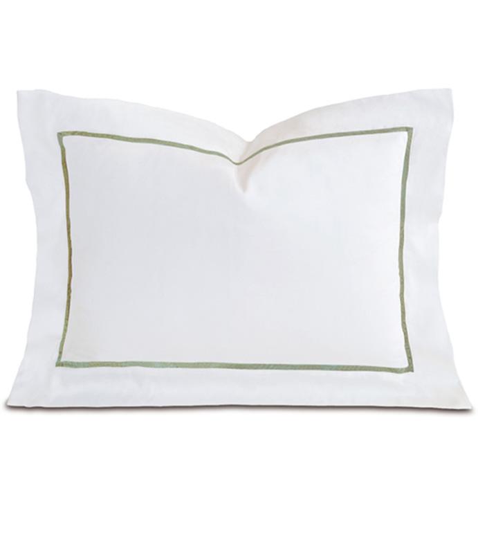 Linea Velvet Ribbon Boudoir In White & Aloe - ,