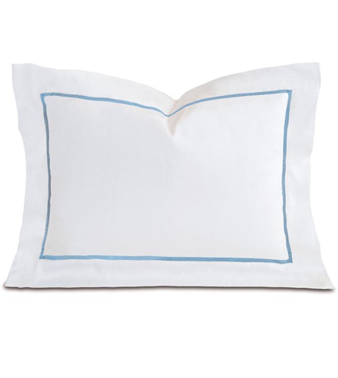 Linea Velvet Ribbon Boudoir In White & Azure - ,