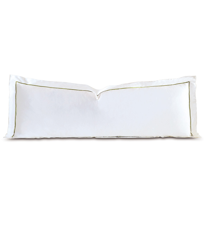 Linea Velvet Ribbon Grand Sham In White & Aloe - ,