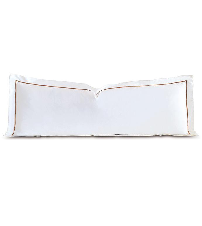 Linea Velvet Ribbon Grand Sham In White & Antique - SATEEN,SHEETS,SHEETING,FINE LINENS,100% COTTON,COTTON,COTTON SATEEN,SILKY,VELVET,RIBBON,BORDER,THREAD COUNT,ITALIAN,EGYPTIAN COTTON,GRAND SHAM,SHAM,PILLOW,LONG,OBLONG, RECTANGULAR,