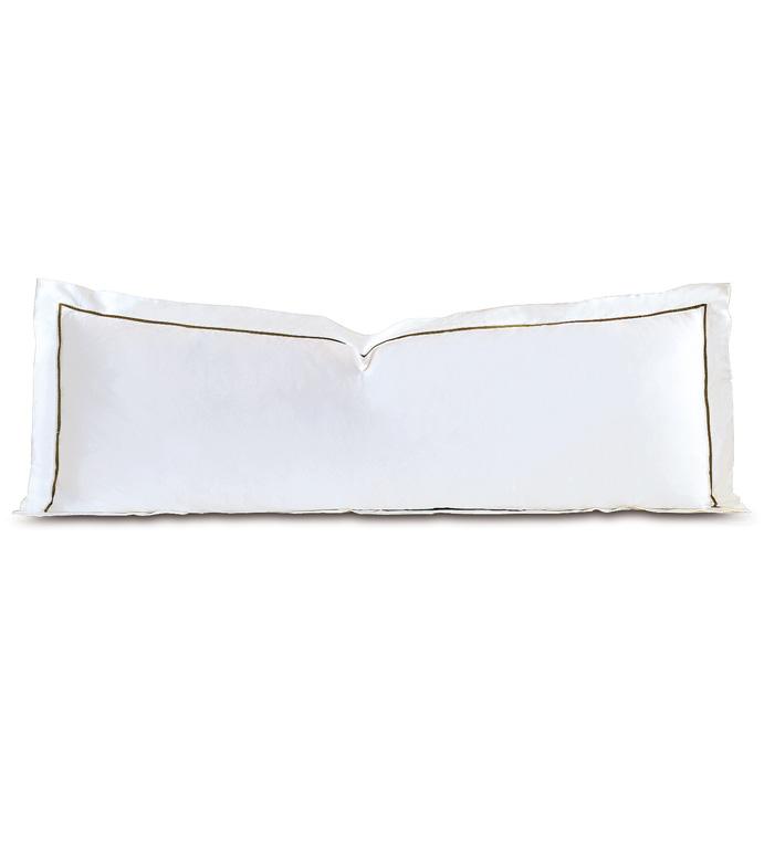 Linea Velvet Ribbon Grand Sham In White & Oliva - ,
