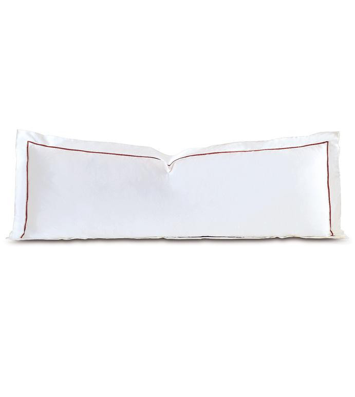 Linea Velvet Ribbon Grand Sham In White & Shiraz - ,