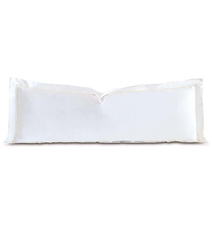 Linea Velvet Ribbon Grand Sham In White & White - ,