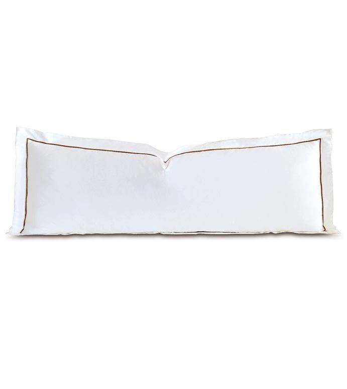 Linea Velvet Ribbon Grand Sham In White & Walnut - ,
