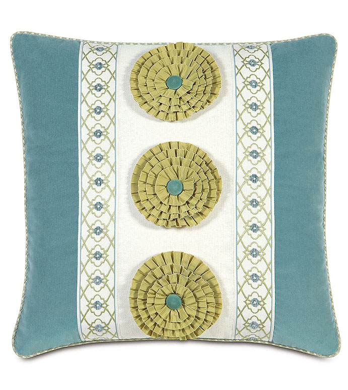 Filly White Insert With Rosettes - GREEN FLOWER PILLOW,FLOWER POWER PILLOW,TWEEN ROOM PILLOW,TWEEN ROOM BEDDING,FEMININE,CASUAL,CONTEMPORARY,CUTOUT PILLOW,STRIPED,BLUE VELVET PILLOW,BLUE AND GREEN,TEXTURED