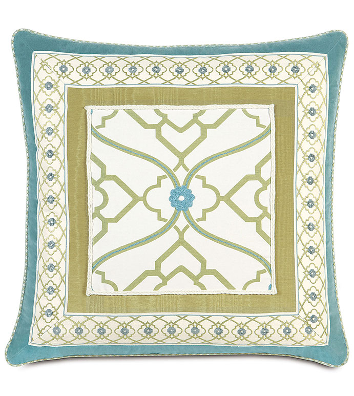 Bradshaw Border Collage - BLUE COLLAGE PILLOW,BLUE FLORAL PILLOW,TWEEN FLORAL BEDDING,TWEEN ROOM PILLOW,FEMININE,CASUAL,CONTEMPORARY,GEOMETRIC,BLUE AND GREEN,BLUE AND WHITE,FUNKY,EMBROIDERED,INSET TRIM