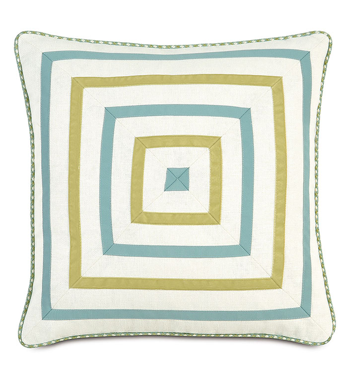 Filly White Mitered - MITERED TRIM PILLOW,INSET TRIM,GREEN AND BLUE,GREEN AND WHITE,DIAMOND PILLOW,WHITE PILLOW WITH TRIM,CASUAL CONTEMPORARY,FEMININE BEDDING,TWEEN ROOM BEDDING,BRIGHT FEMININE