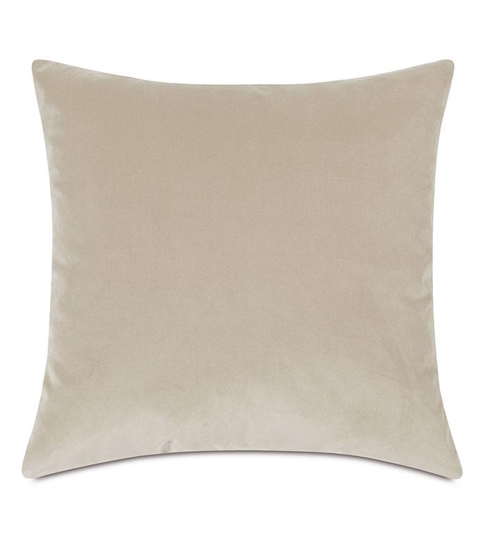 Plush Velvet Decorative Pillow In Sea Salt - NEUTRAL,VELVET,CREAM,PILLOW,THROW PILLOW,DECORATIVE PILLOW,ACCENT PILLOW,DRY VELVET,KNIFE EDGE,EASTERN ACCENTS,LUXURY,BEDDING,HOME DECOR,REVERSIBLE,BOTH SIDES,COZY,GLAM,TEXTURE
