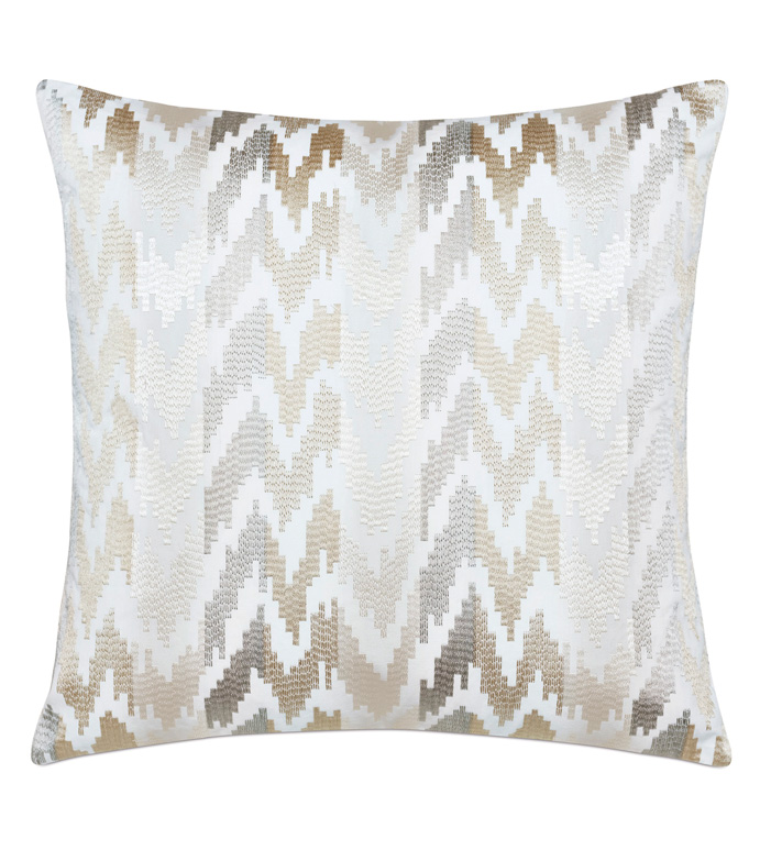 Veda Embroidered Decorative Pillow In Neutral - IKAT,EMBROIDERED,PILLOW,THROW PILLOW,DECORATIVE PILLOW,ACCENT,ZIG-ZAG,CHEVRON,KNIFE EDGE,TEXTURED,REVERSIBLE,TEXTURED,METALLIC,GLAM,BOHO,GOLD,NEUTRAL,CREAM,GRAY,SLATE,SQUARE,22X22,