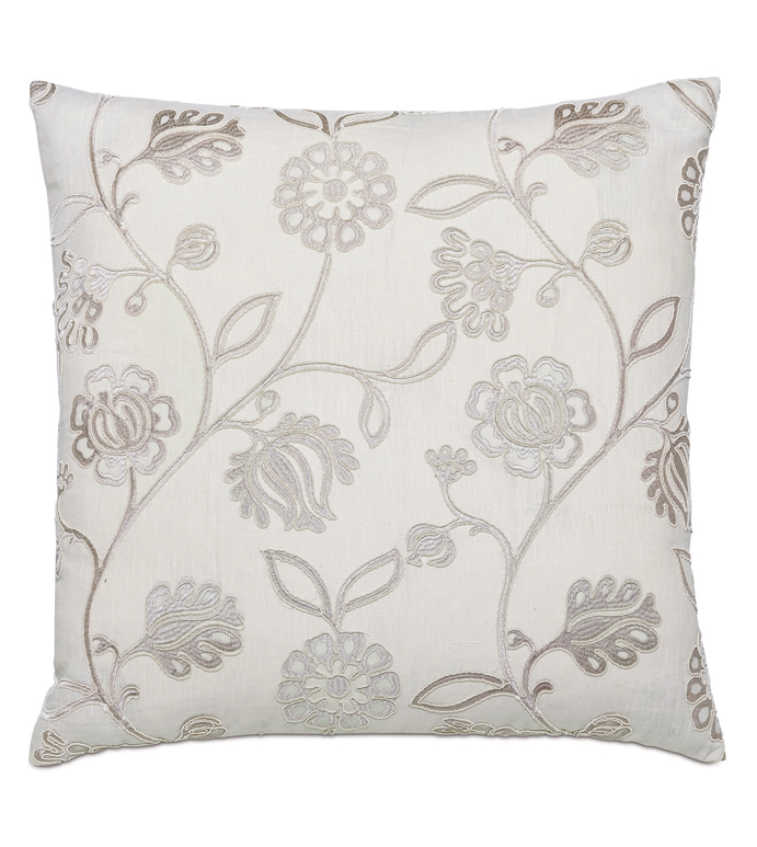 Clarion Embroidered Decorative Pillow - ,22X22 PILLOW,FLORAL PILLOW,FLORAL EMBROIDERY,EMBROIDERED PILLOW,LUXURY PILLOW,SILVER PILLOW,FLOWER PILLOW,CHICAGO HOME DECOR,SILVER EMBROIDERY,ROMANTIC PILLOW,LUXURY DECOR,