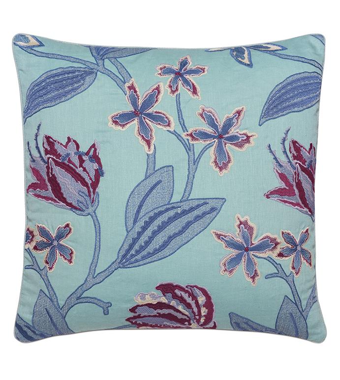 Beaulah Aqua Decorative Pillow - ,