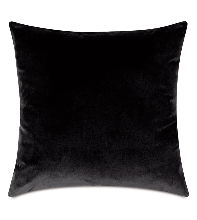 Uma Velvet Decorative Pillow In Charcoal - ,22X22 PILLOW,LARGE PILLOW,SQUARE PILLOW,CHARCOAL PILLOW,GRAY PILLOW,DARK GRAY VELVET,CHARCOAL VELVET,VELVET PILLOW,LUXURY PILLOW,VELVET THROW PILLOW,DARK VELVET,CHARCOAL FABRIC,