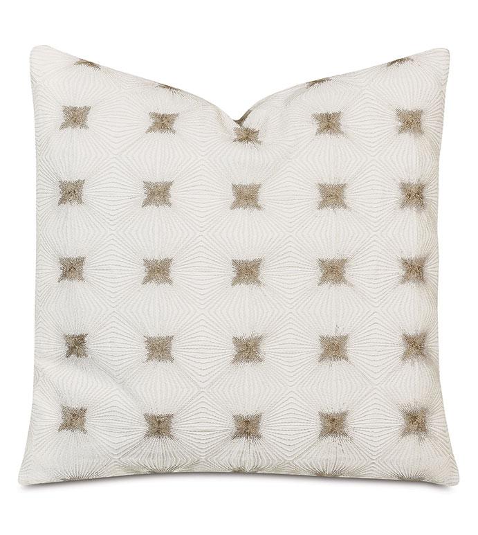 Tesseract Embroidered Decorative Pillow - ,22X22 PILLOW,EMBROIDERED DECORATIVE PILLOW,STAR EMBROIDERY,STAR PILLOW,METALLIC EMBROIDERY,WHITE PILLOW,IVORY PILLOW,LUXURY PILLOW,LUXURY EMBROIDERY,SILVER PILLOW,