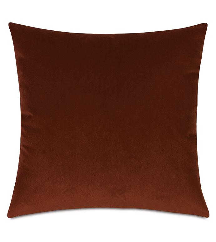 Uma Velvet Decorative Pillow In Orange - ,22X22 PILLOW,VELVET THROW PILLOW,VELVET PILLOW,ORANGE PILLOW,TERRACOTTA PILLOW,ORANGE VELVET,LUXURY PILLOW,LUXURY VELVET,RUST PILLOW,RUST VELVET,SQUARE PILLOW,VELVET CUSHION,