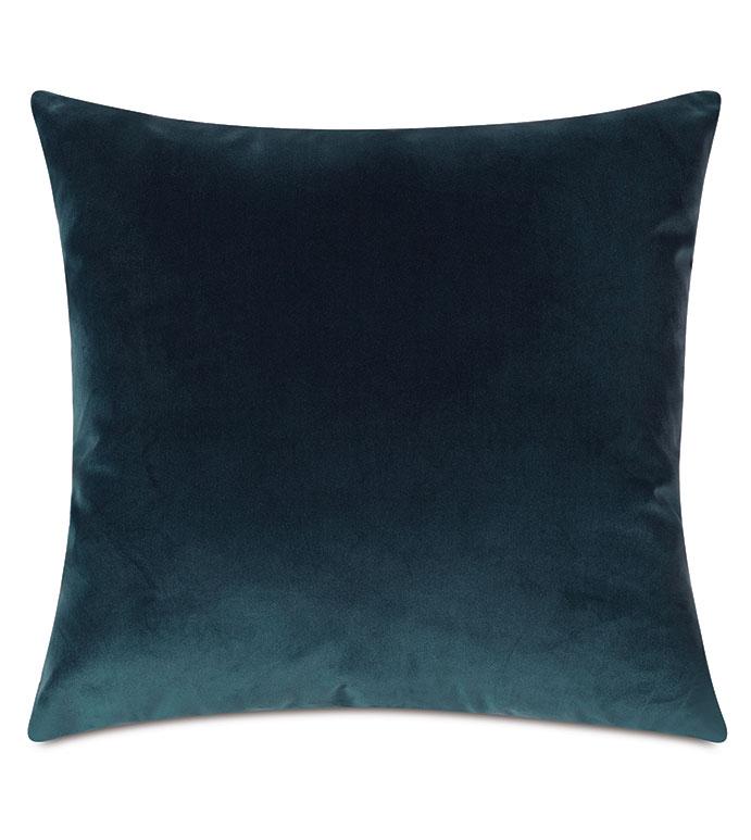 Uma Velvet Decorative Pillow In Pacific - ,22X22 PILLOW,LARGE PILLOW,SQUARE PILLOW,BLUE PILLOW,VELVET PILLOW,BLUE VELVET,LUXURY VELVET,BLUE THROW PILLOW,OCEAN BLUE,BLUE DECOR,VELVET FABRIC,LUXURY PILLOW,
