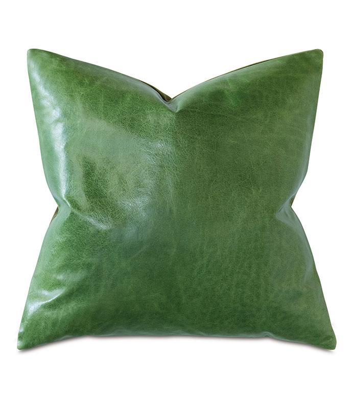 Tudor Decorative Pillow In Kelly Green - GREEN,LEATHER,VELVET,OLIVE,GREEN LEATHER,LEATHER PILLOW,GREEN LEATHER PILLOW,OLIVE PILLOW,