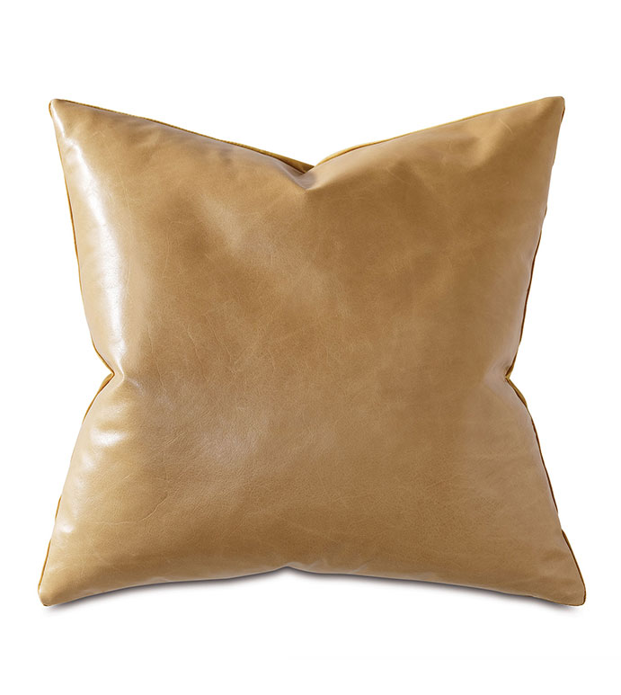 Tudor Leather Decorative Pillow In Gold - GOLD,LEATHER,VELVET,GOLD LEATHER,GOLD PILLOW,GOLD VELVET,METALLIC,METALLIC PILLOW,GOLD LEATHER PILLOW,MADE IN USA,OPULENT,TRADITIONAL,TRADITIONAL PILLOW,ACCENT PILLOW,GOLD ACCENT,