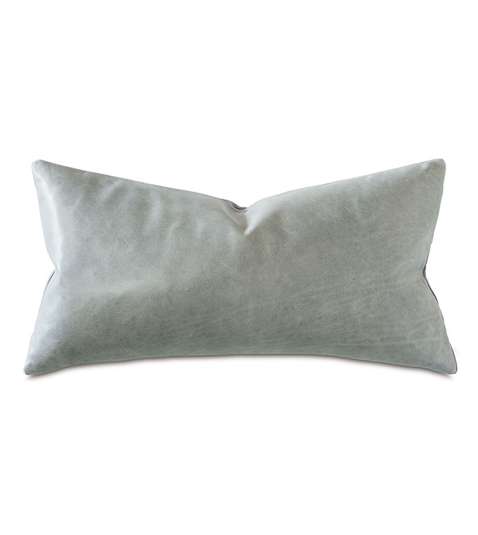 Tudor Leather Decorative Pillow In Dove - LEATHER,VELVET,LEATHER PILLOW,VELVET PILLOW,GRAY PILLOW,MOUNTAIN,SQUARE,20X20,GRAY LEATHER PILLOW,GRAY VELVET,CONTEMPORARY,ACCENT PILLOW,CONTEMPORARY PILLOW,MADE IN USA,