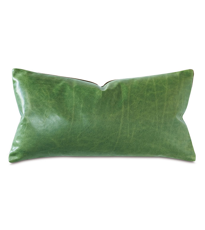 Tudor Decorative Pillow In Kelly Green - GREEN,LEATHER,VELVET,OLIVE,GREEN LEATHER,LEATHER PILLOW,GREEN LEATHER PILLOW,OLIVE PILLOW,RECTANGLE PILLOW,GREEN RECTANGLE PILLOW,ACCENT PILLOW, GREEN ACCENT PILLOW,