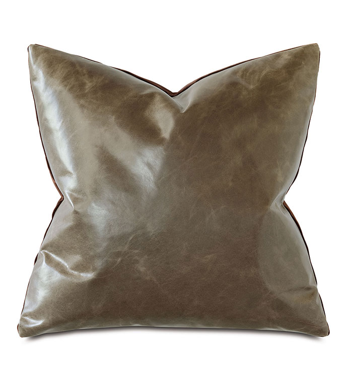 Tudor Leather Decorative Pillow In Cocoa - BROWN,LEATHER,VELVET,PILLOW,BROWN PILLOW,BROWN LEATHER,BROWN VELVET,MOUNTAIN,RUSTIC,MASCULINE,MADE IN USA,100% LEATHER,ACCENT PILLOW,THROW PILLOW,SQUARE,20X20